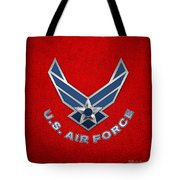 U. S. Air Force  -  U S A F Logo On Red Leather Tote Bag