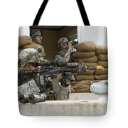 U.s. Army Soldier Looks Down The Scope Tote Bag