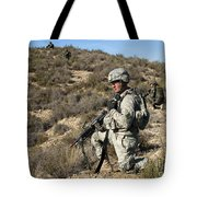 U.s. Army Soldier Scans For Simulated Tote Bag