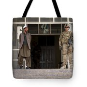 U.s. Army Soldier Stands Guard In Farah Tote Bag