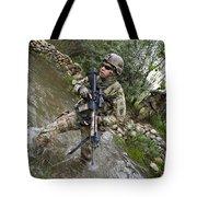 U.s. Army Soldier Walks Through A Creek Tote Bag