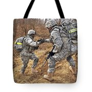 U.s. Army Soldiers Helps A Fellow Tote Bag