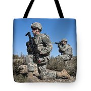 U.s. Army Soldiers Scan The Terrain Tote Bag