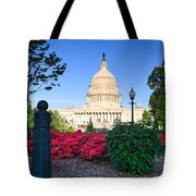 Us Capitol And Red Azaleas Tote Bag