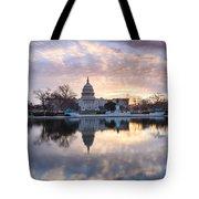 Washington Dc Us Capitol Building At Sunrise Tote Bag