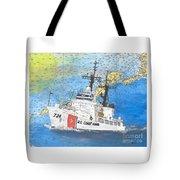 Us Coast Guard Cutter Munro Nautical Chart Cape San Blas Lighthouse Fl Nautical Chart Cathy Peek Tote Bag