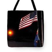 Us Flag Arizona Flag Twilight Casa Grande Arizona 2005 Tote Bag