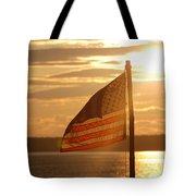 Us Flag At Sunset Tote Bag