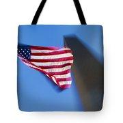 Us Flag At Washington Monument At Dusk Tote Bag
