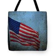 Us Flag -blue Antiqued Tote Bag