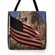 U.s. Flag In Zion National Park Tote Bag