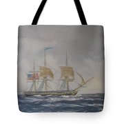 Us Frigate Gives Chase In Stormy Weather Tote Bag by Elaine Jones
