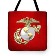 U. S. Marine Corps Eagle Globe And Anchor - E G A On Red Leather Tote Bag
