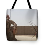 U.s. Marine Looks Up To The Sky While Tote Bag