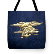 U. S. Navy S E A Ls Emblem On Blue Velvet Tote Bag