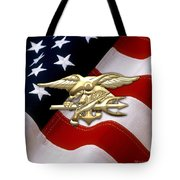 U. S. Navy S E A Ls Emblem Over American Flag Tote Bag