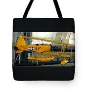 U.s. Navy Yellow Peril Float Biplane Tote Bag