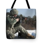 U.s. Soldier Fires His M4a3 Carbine Tote Bag