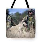 U.s. Soldiers Await The Arrival Tote Bag