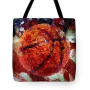 Usa Flag And Basketball Abstract Tote Bag