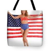 Usa Pinup Girl Tote Bag