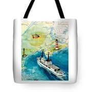 Uscg Chase Helicopter Chart Map Art Peek Tote Bag