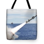 Uss Cowpens Launches A Harpoon Missile Tote Bag