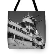 Uss Iowa Battleship Portside Bridge 01 Bw Tote Bag