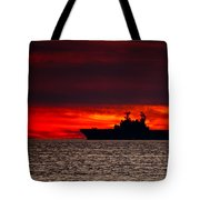 Uss Makin Island At Sunset Tote Bag