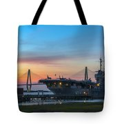 Uss Yorktown Sunset Tote Bag
