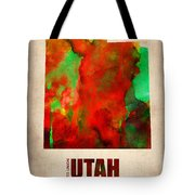 Utah Watercolor Map Tote Bag by Naxart Studio