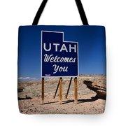 Utah Welcomes You State Sign Tote Bag