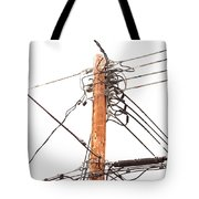 Utility Pole Hung With Electricity Power Cables Tote Bag