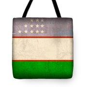 Uzbekistan Flag Vintage Distressed Finish Tote Bag