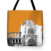 Valencia Skyline Valencia Cathedral - Dark Orange Tote Bag