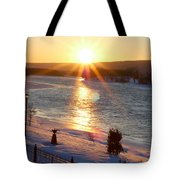 Valentines Day Snowstorm Sunset Tote Bag