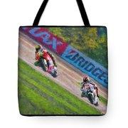 Valentino Rossi Leads Marco Simoncelli Tote Bag