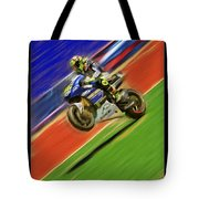 Valentino Rossi Wheely Down The Blue Red And Green Tote Bag