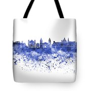 Valletta Skyline In Blue Watercolor On White Background Tote Bag