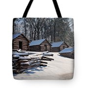 Valley Forge Cabins After A Snow Tote Bag