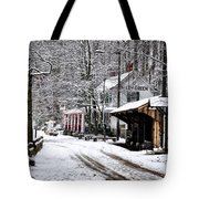 Valley Green In Winter Along Forbidden Drive Tote Bag