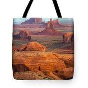 Valley Of Monuments At Dawn Tote Bag