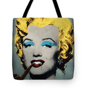 Vampire Marilyn With Surreal Pipe Tote Bag