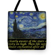 Van Gogh Motivational Quotes - Starry Night II Tote Bag