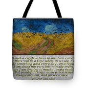 Van Gogh Motivational Quotes - Wheatfield With Crows II Tote Bag