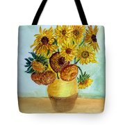 van Gogh Sunflowers in watercolor Tote Bag