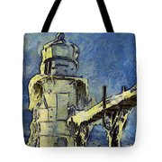 The Frozen Lighthouse Lake Michigan Tote Bag