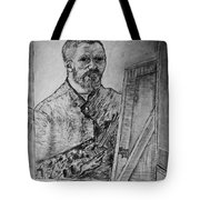 Van Goghs Self Portrait Painting Placed In His Room In Arles France Tote Bag