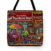 Van Horne Bagel With Yangtze Restaurant Montreal Street Scene Tote Bag by Carole Spandau