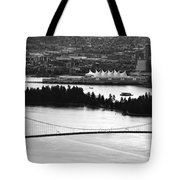 Vancouver Bc City Skyline And Lions Gate Bridge Tote Bag